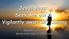 2015-11-01 - JESUS SAYS... Seek Me Our and Vigilantly await My Coming