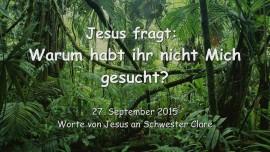 2015-09-27 - JESUS FRAGT... Warum sucht ihr nicht Mich