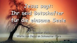 2015-11-04 - JESUS SAGT... Ihr seid Botschafter der Wahrheit und Liebe fuer die einsame Seele