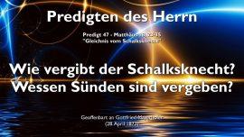 Predigten des Herrn-Gottfried Mayerhofer deutsch-Gleichnis vom Schalksknecht-Sundenvergebung-Unversohnlichkeit