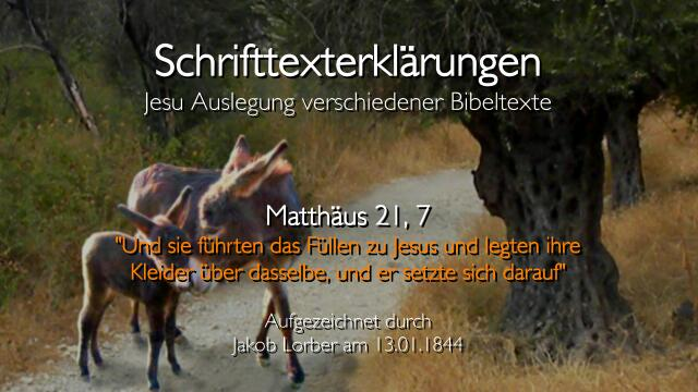 Jesus erklaert Bibelstellen - Matthaeus-21_7 Und sie fuehrten das Fuellen