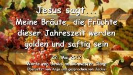 2017-05-27 - JESUS SAGT-Meine Braeute die Fruechte dieser Jahreszeit werden golden und saftig sein-Liebesbrief von Jesus