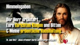 Jesus Christus Himmelsgaben Jakob Lorber-Dumme Klagen und Bitten der Menschen-Haushaltung Gottes